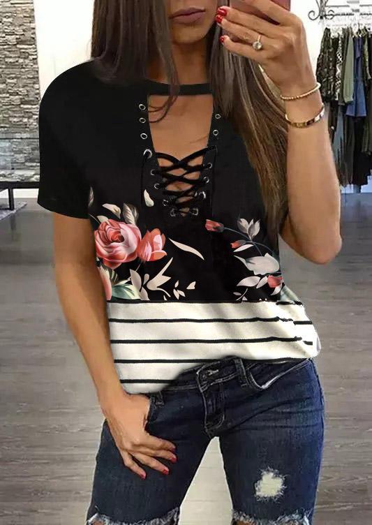 Floral Striped Lace Up Keyhole Neck Blouse - Black