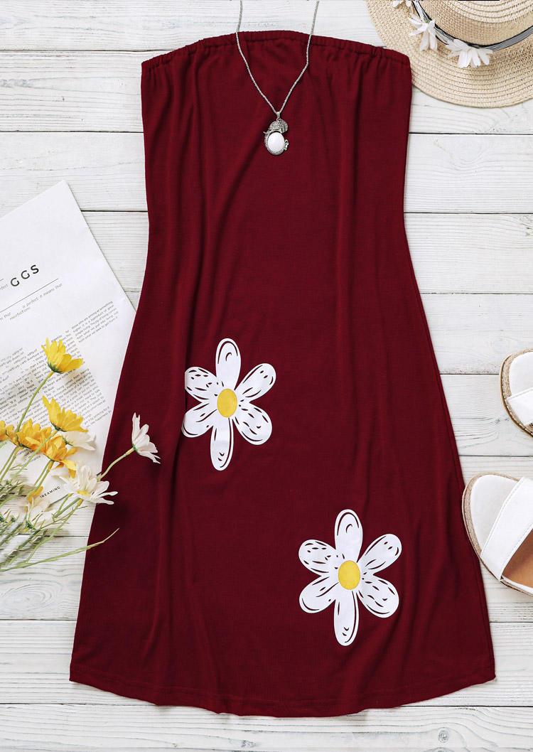 Daisy Strapless Mini Dress - Burgundy
