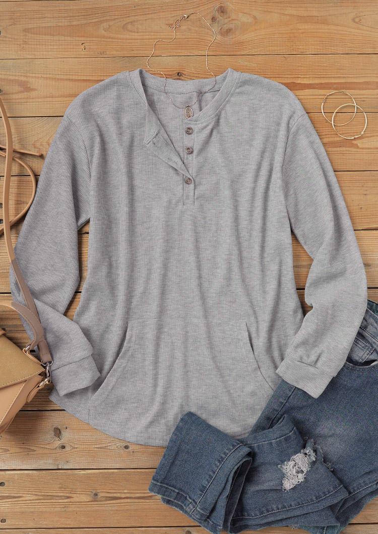 Kangaroo Pocket Button Long Sleeve Blouse - Gray