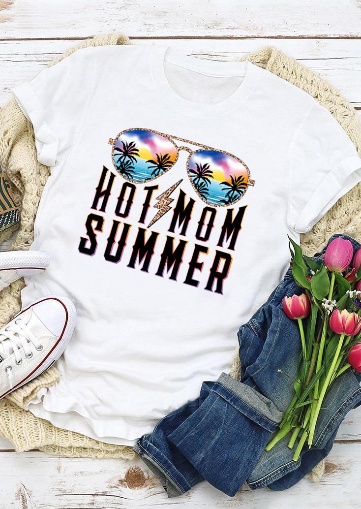 Hot Mom Summer Leopard Lightning Glasses T-Shirt Tee - White