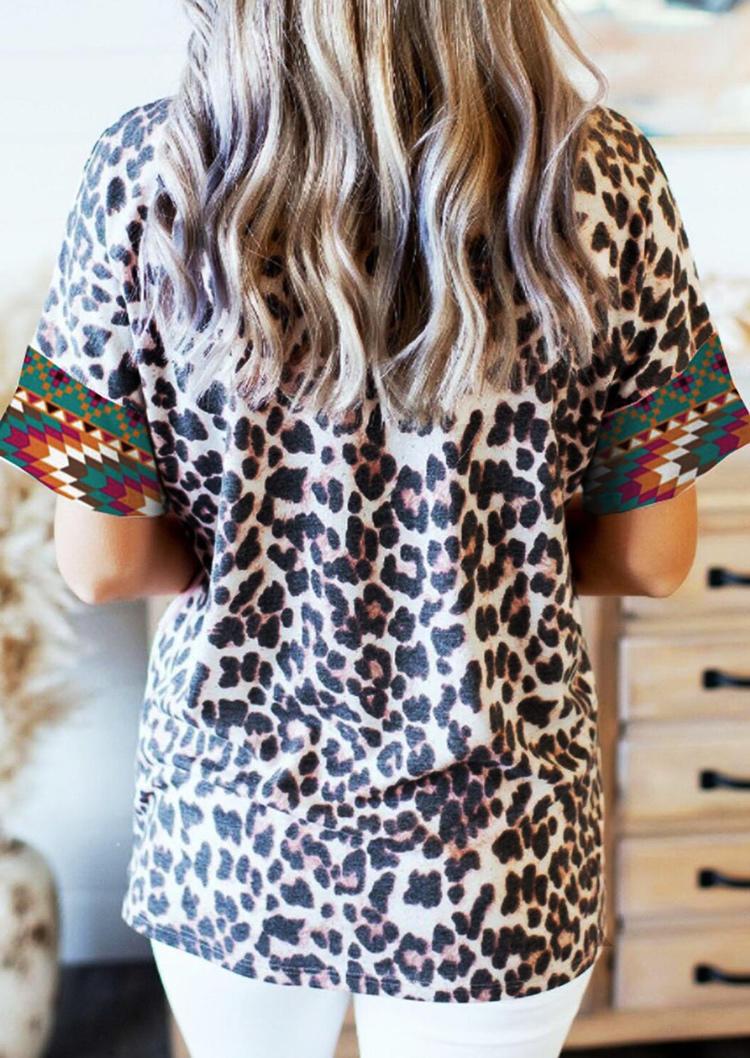 Aztec Geometric Leopard O-Neck Blouse