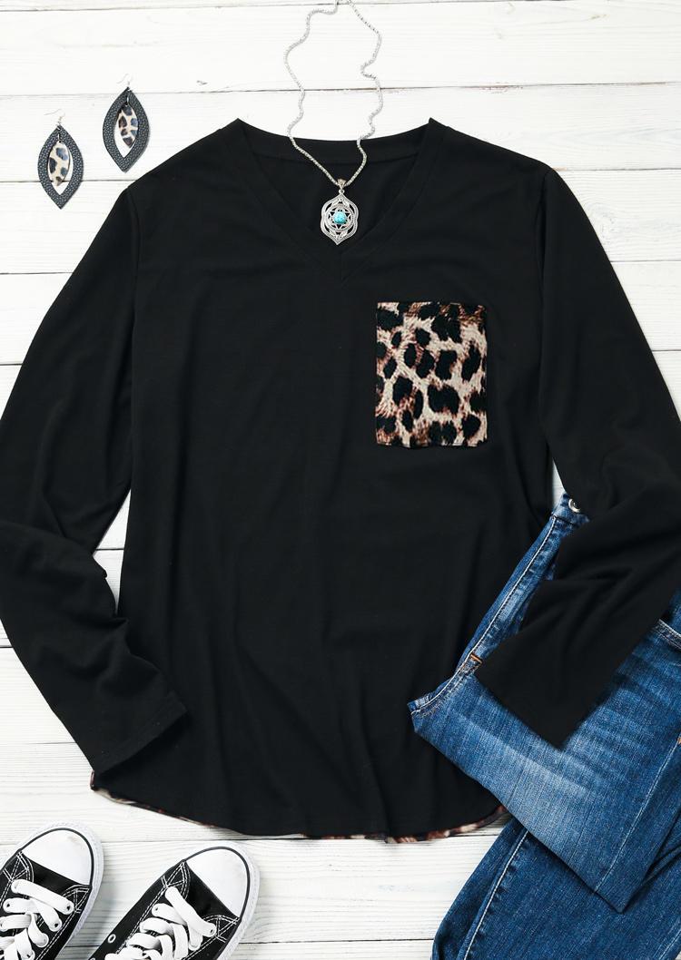 Leopard Splicing Pocket Long Sleeve Blouse - Black