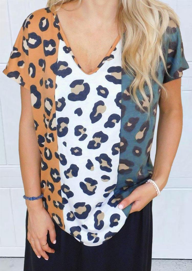 Leopard Color Block V-Neck Blouse
