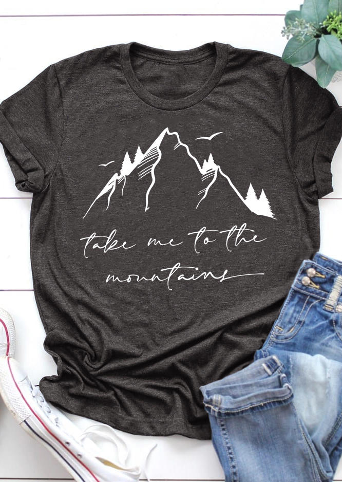 Take Me To The Mountain T-Shirt Tee - Dark Grey
