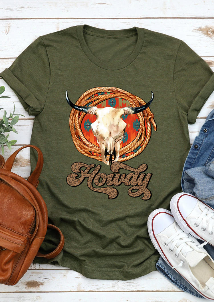 Leopard Howdy Steer Skull T-Shirt Tee - Army Green