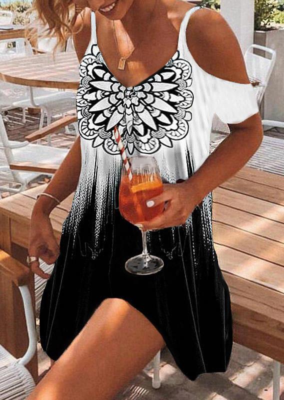 Mandala Gradient ColdShoulder Mini Dress