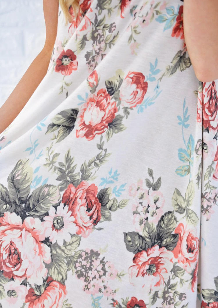 Floral Pocket O-Neck Mini Dress - White