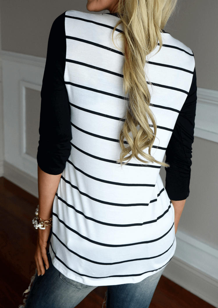 Sequined Pocket Striped Long Sleeve Blouse - White