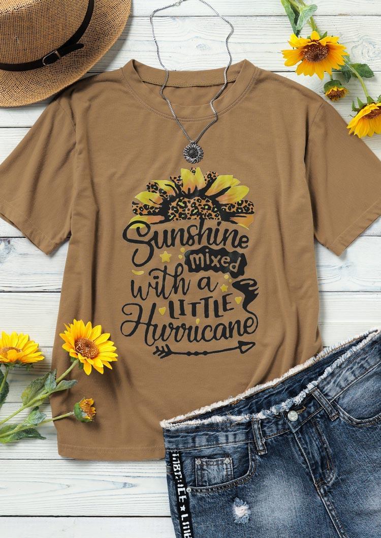 Leopard Sunflower Arrow Sunshine T-Shirt Tee - Khaki