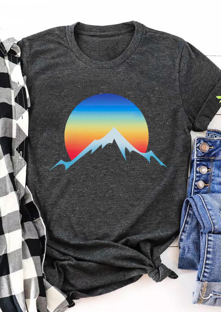 Mountain Sunset T-ShirtTee - Dark Grey