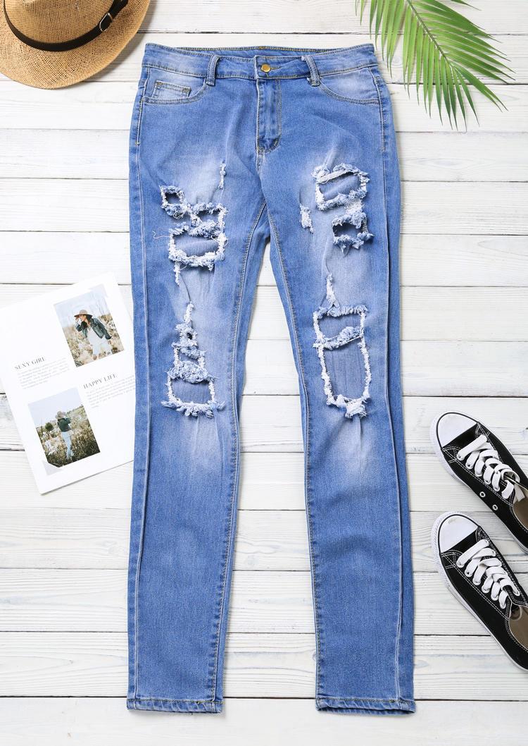 Ripped Hole Pocket Zipper Denim Jeans Pants - Blue