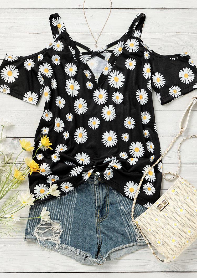 Daisy Criss-Cross Cold Shoulder Blouse - Black