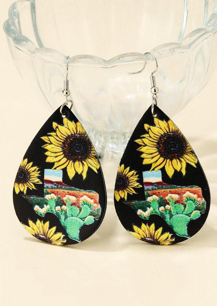 Sunflower Cactus Geometric Water Drop Earrings - Black