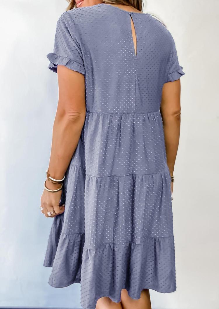 Dotted Swiss Pocket Ruffled O-Neck Mini Dress - Blue