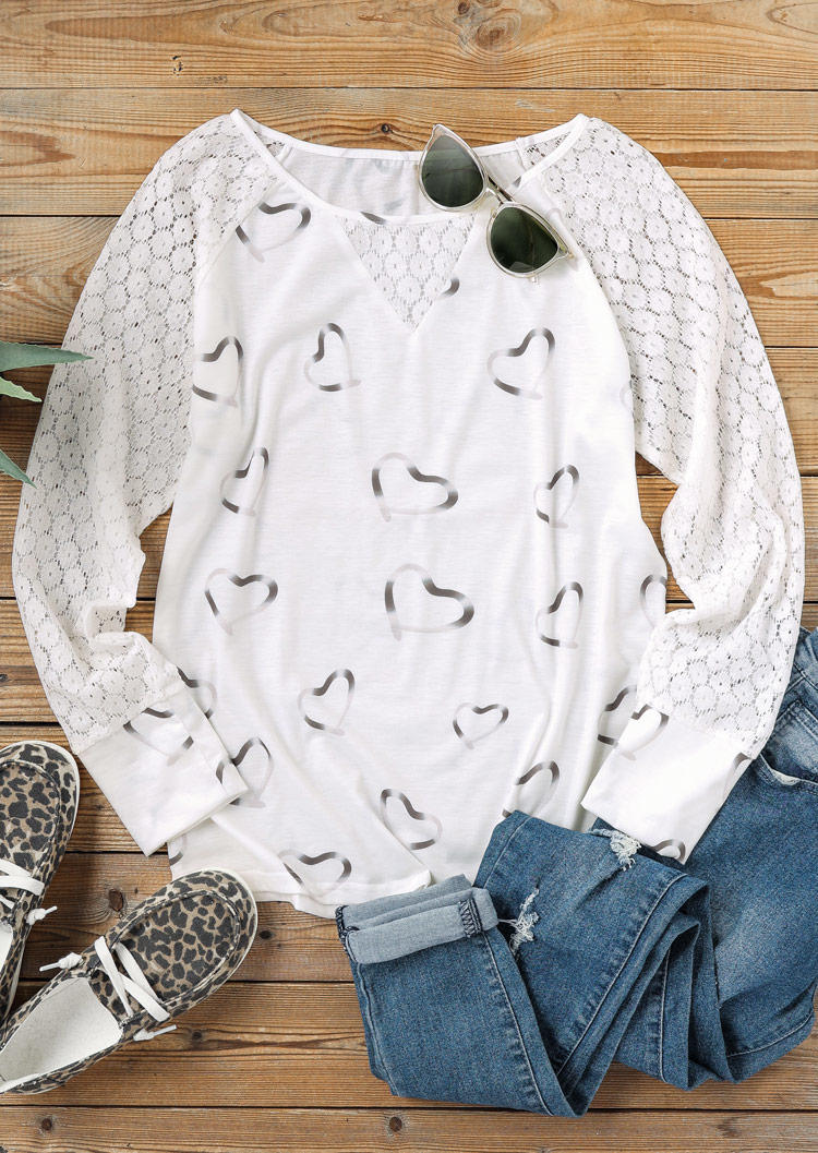 Heart Lace Splicing Raglan Sleeve O-Neck Blouse - White