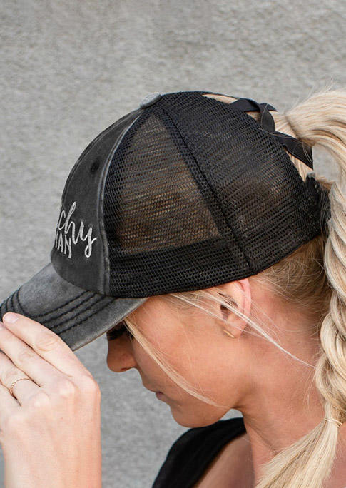Hats Witchy Woman Ripped Mesh Splicing Baseball Cap in Dark Grey. Size: One Size