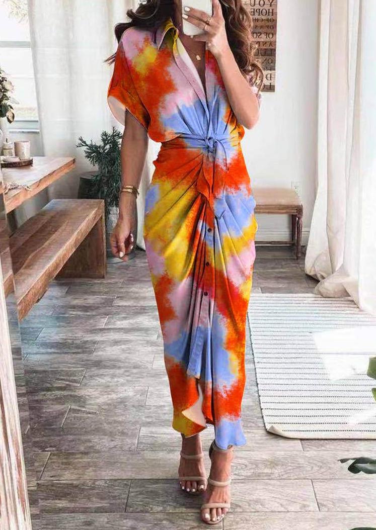 Tie Dye Button Ruffled Turn-Down Collar Maxi Dress