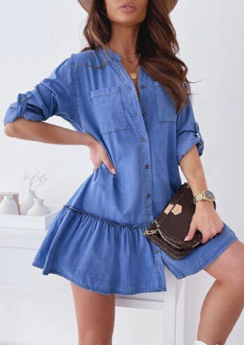 Pocket Button Ruffled Mini Dress -  Blue
