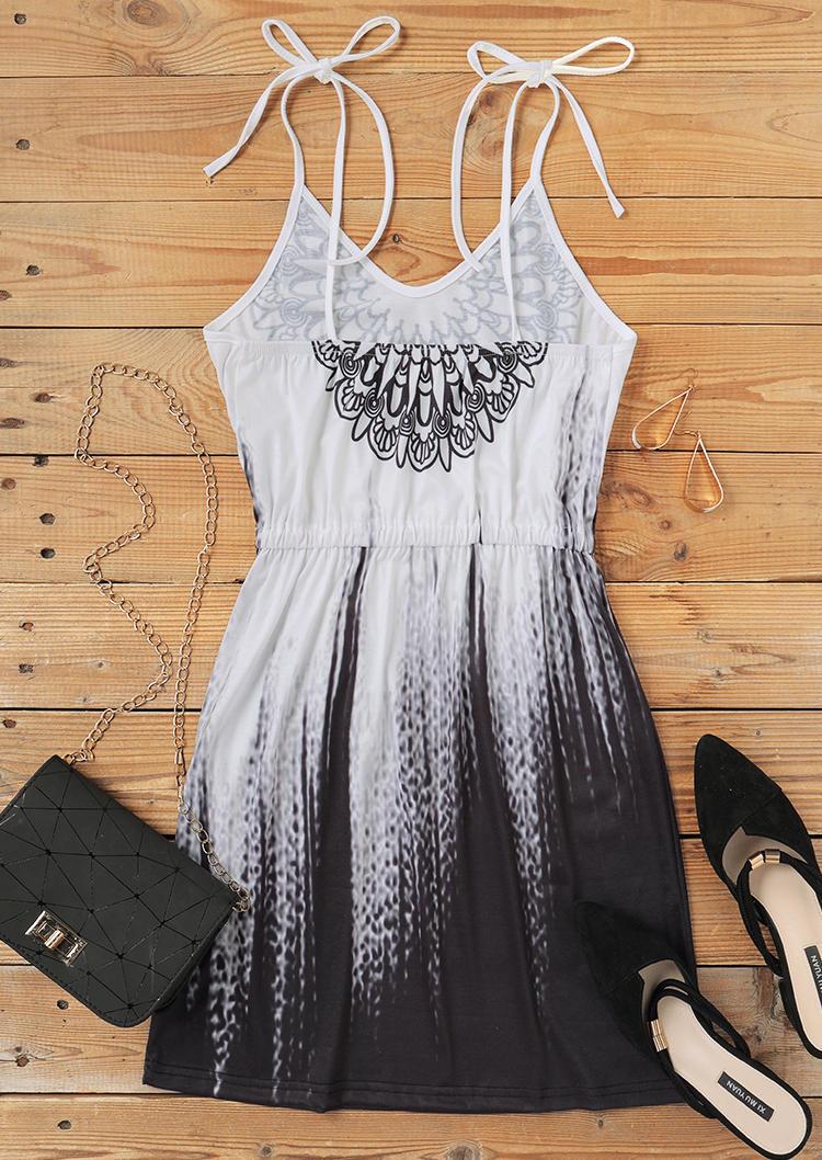 Mandala Gradient Drawstring Pocket  Mini Dress - White