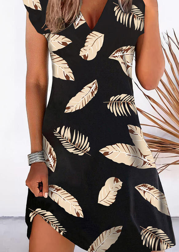 Palm Leaf Cap Sleeve V-Neck Mini Dress - Black