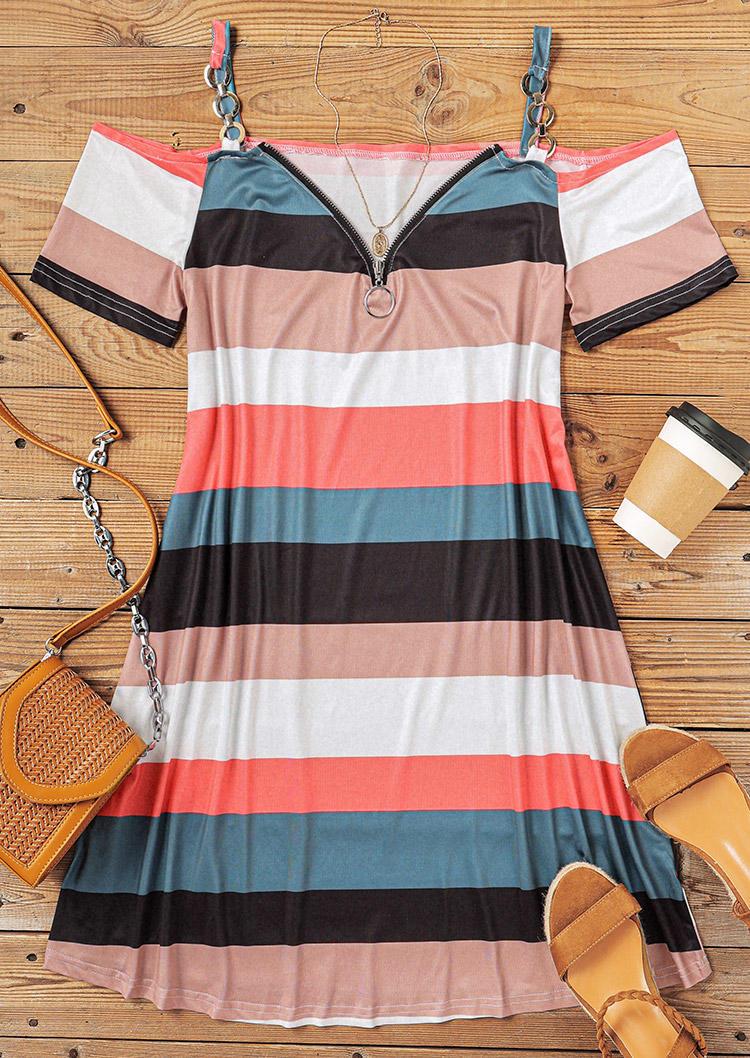Colorful Striped Zipper Collar Cold Shoulder Mini Dress