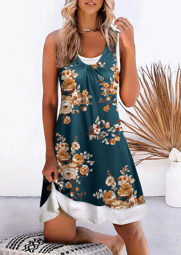Floral Ruffled Sleeveless Mini Dress - Green
