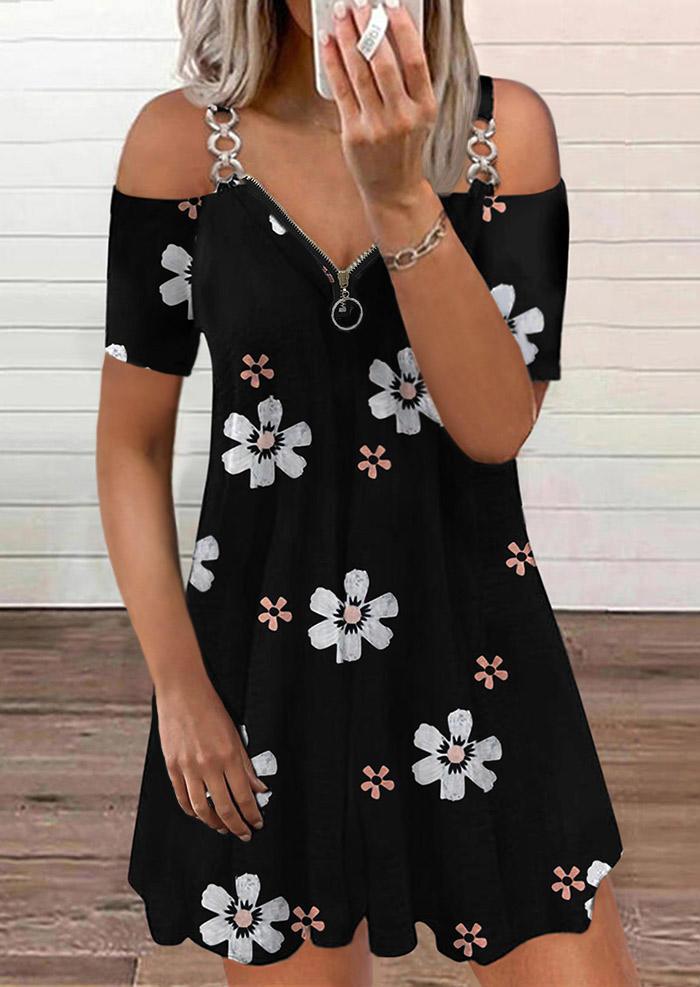 Floral Zipper Collar Cold Shoulder Mini Dress - Black
