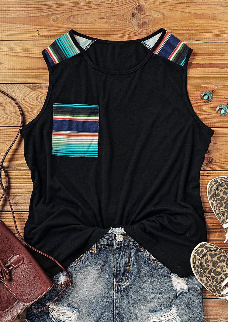 Colorful Striped Pocket O-Neck Tank - Black