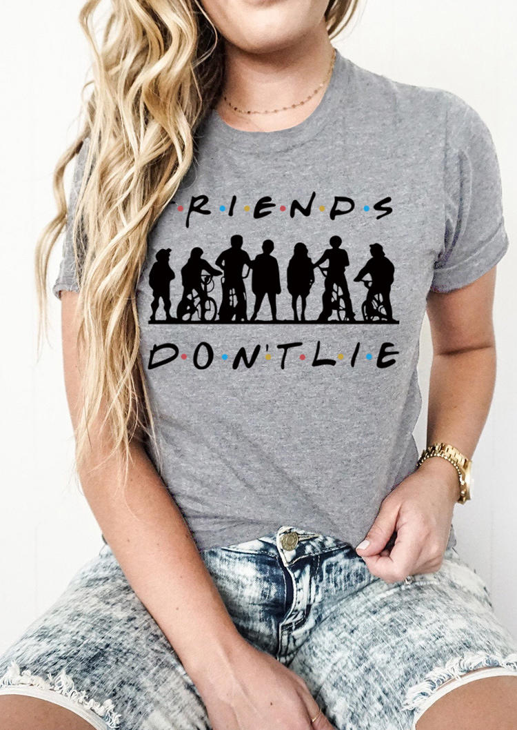 Don't Lie Graphic O-Neck T-Shirt Tee - Gray