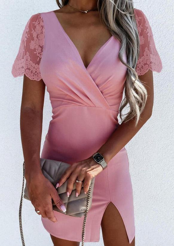 Lace Splicing Slit V-Neck Bodycon Dress - Pink
