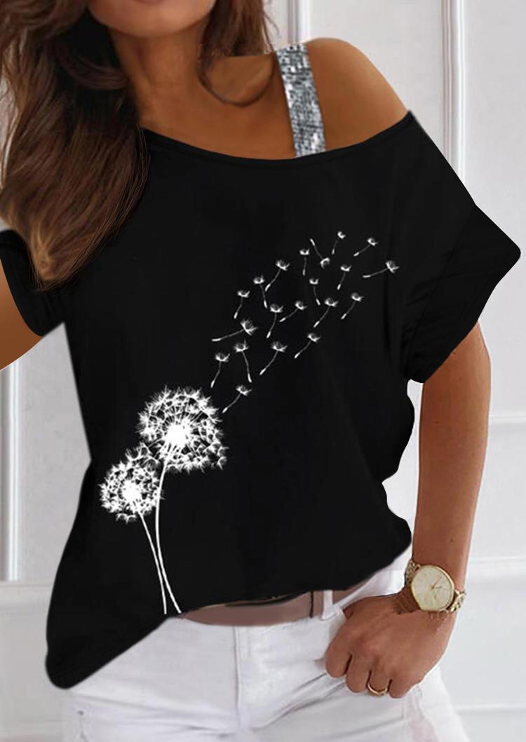 Dandelion Glitter One Sided Cold Shoulder Blouse - Black