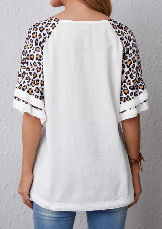 Leopard Short Sleeve O-Neck Blouse - White