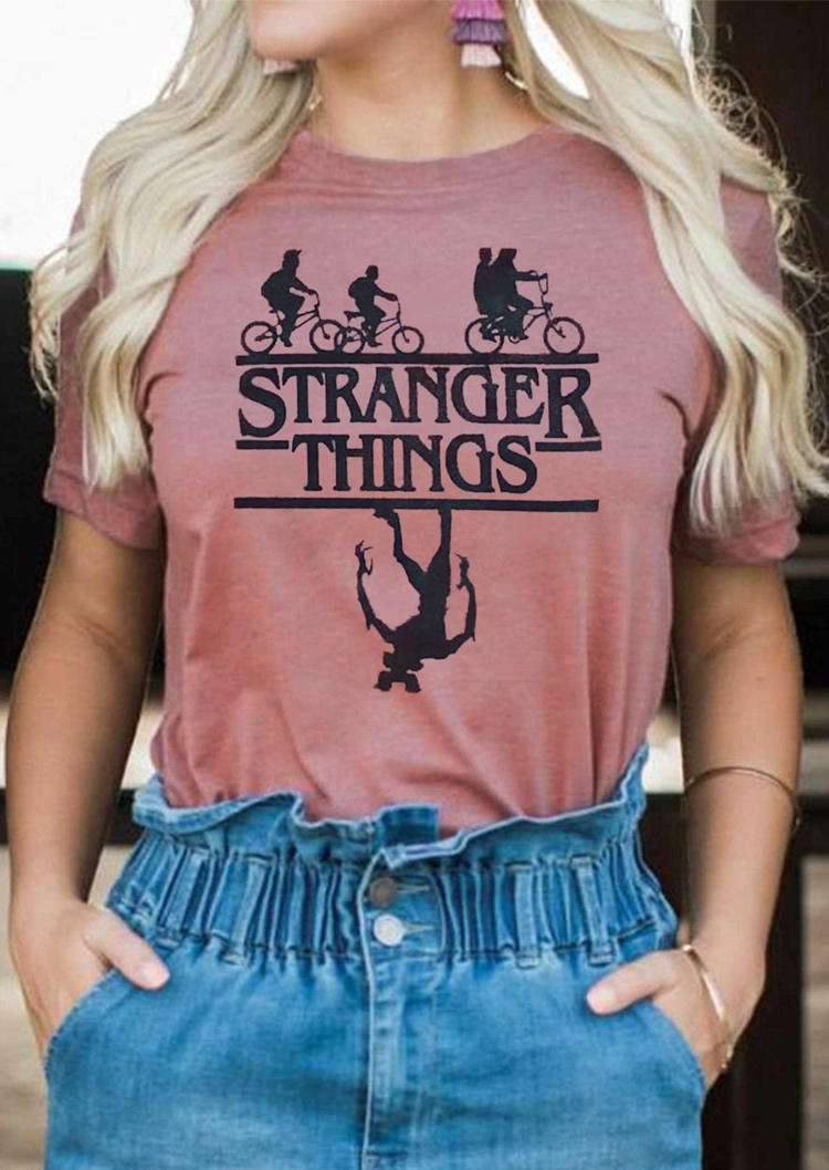 Stranger Things Graphic O-Neck T-Shirt Tee - Cameo Brown