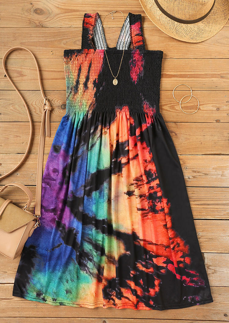 Reverse Tie Dye Rainbow Smocked Spaghetti Strap Mini Dress