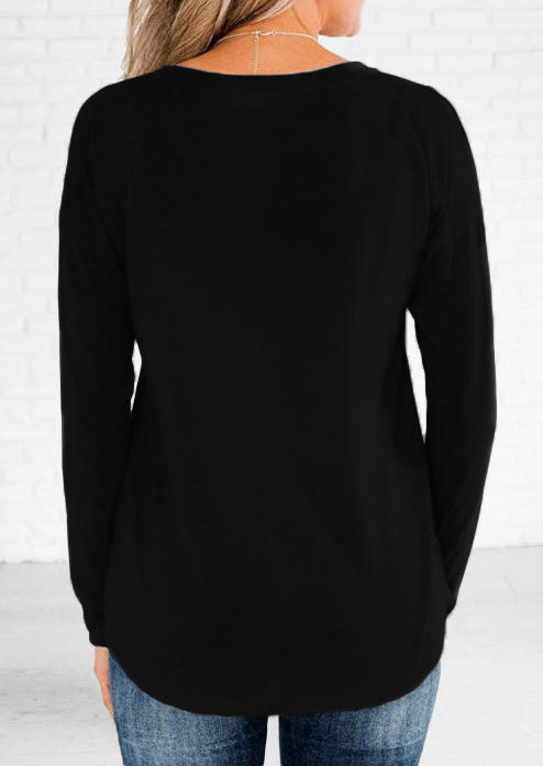 Button Long Sleeve Blouse - Black