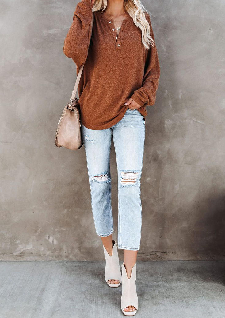 Button LongSleeve Blouse - Brown