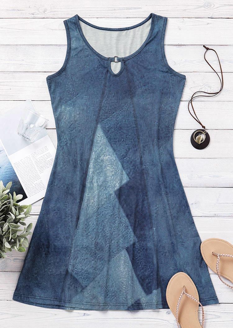 Fake Denim Geometric Hollow Out Mini Dress - Blue