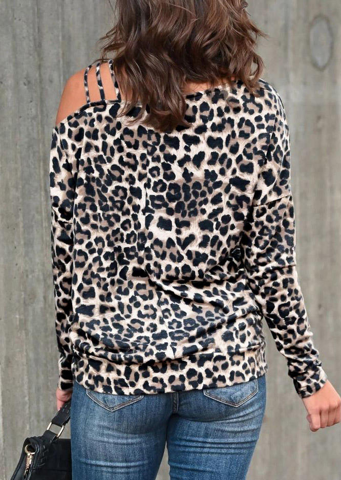 Leopard One Sided Cold Shoulder Long Sleeve Blouse