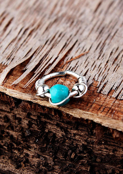 Body Jewelry Turquoise Beading Nose Ring in Gold,Silver. Size: 10,12