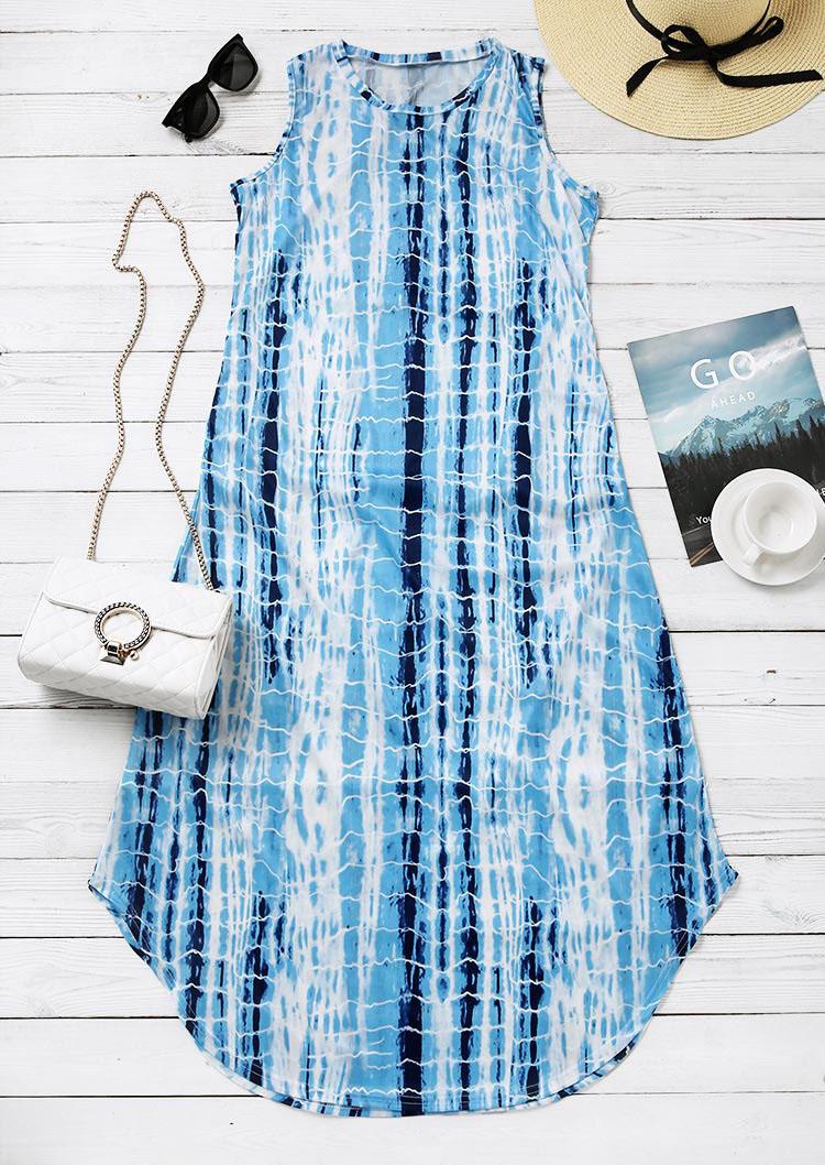 Tie Dye Striped Pocket Sleeveless Maxi Dress - Blue