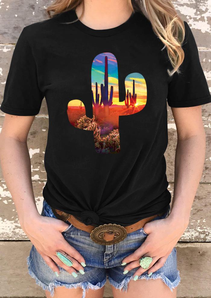 Western Cactus Short Sleeve O-Neck T-Shirt Tee - Black