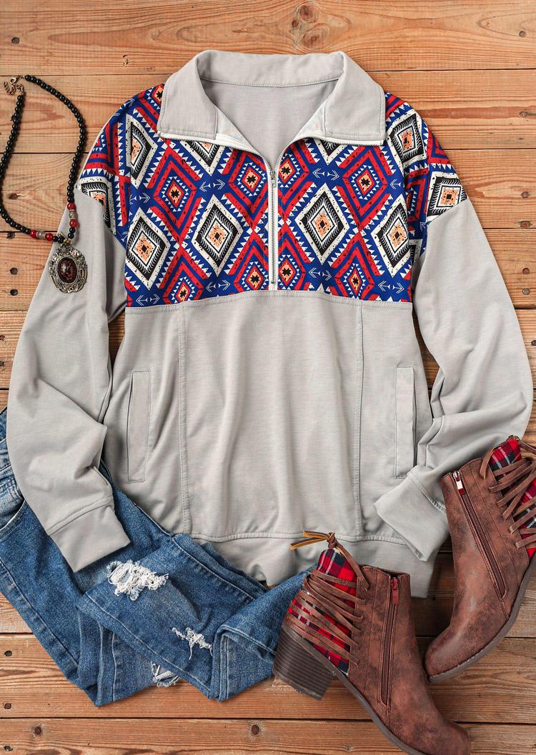 Geometric Zipper Pocket LongSleeve Sweatshirt - Gray