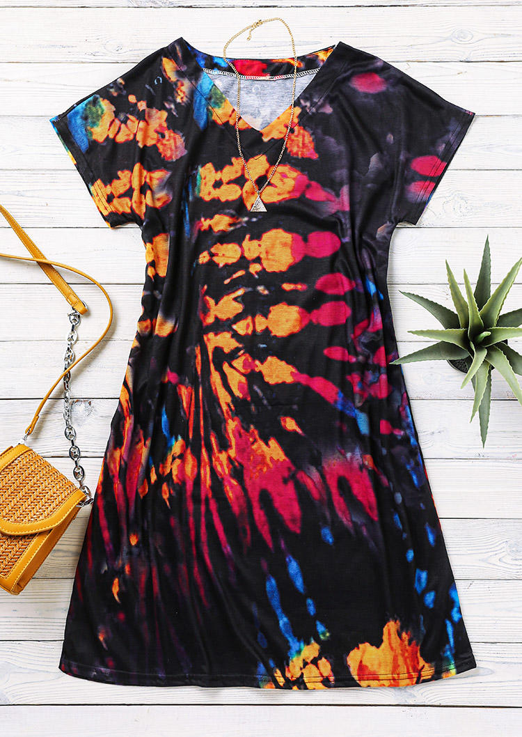 Tie Dye Short Sleeve Mini Dress