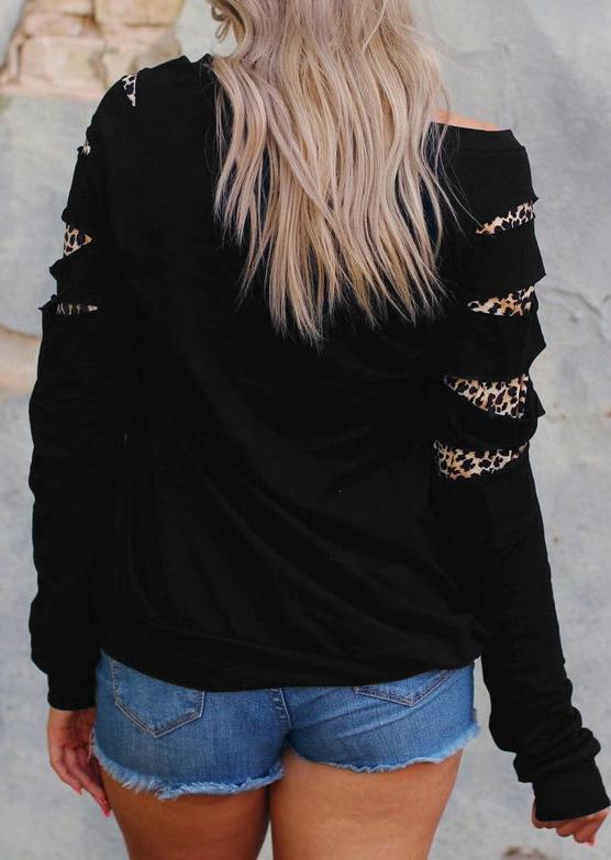 Smooth As Jennessee Whiskey Leopard Hole Sweatshirt - Black