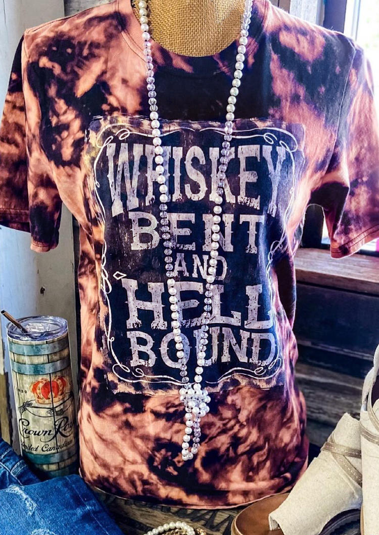 Tie Dye Whiskey Bent And Hell Bound T-Shirt Tee