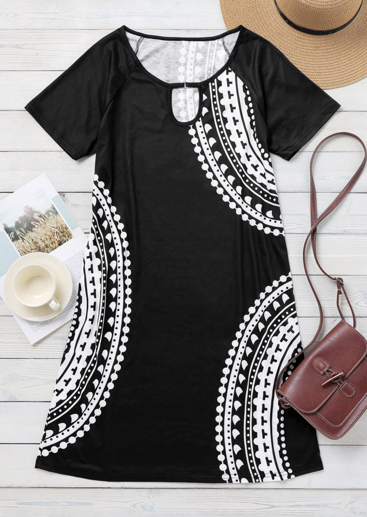 Geometric Keyhole Neck Short Sleeve Mini Dress - Black