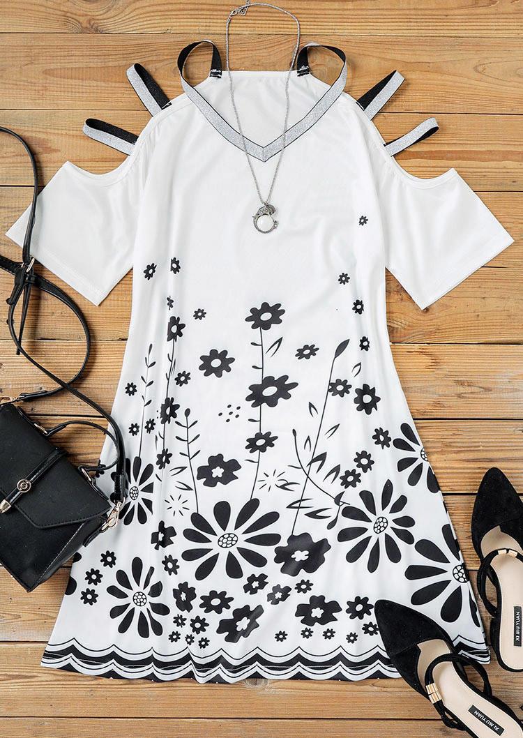 Floral Glitter Cut Out Cold Shoulder Mini Dress - White
