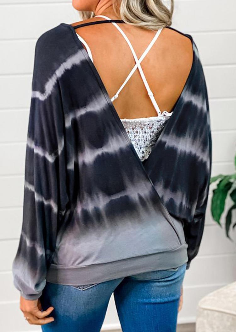 Tie Dye Open Back Long Sleeve Blouse