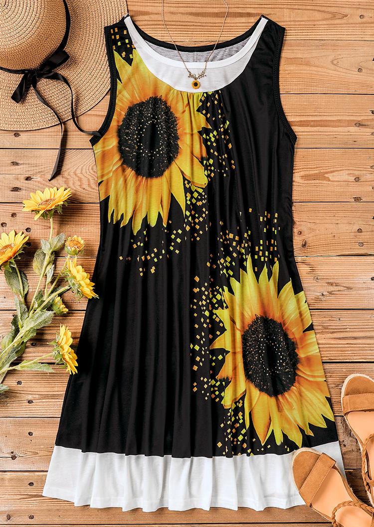 Sunflower Sleeveless Fake Two-Piece Mini Dress - Black