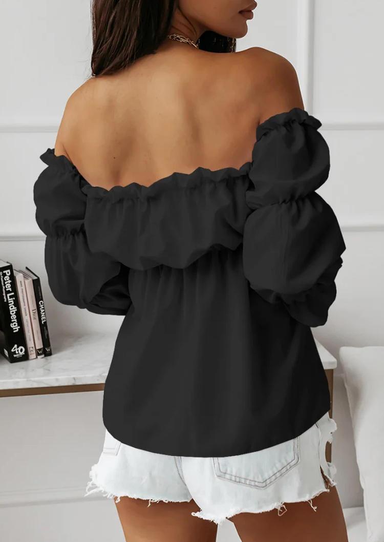 Open Back Long Sleeve Off Shoulder Blouse - Black